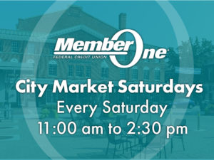 Image of market with text on top that says: City Market Saturdays, Every Saturday, 11:00am to 2:30pm