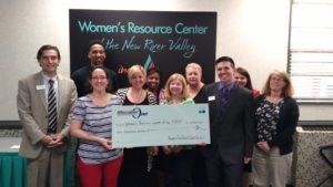 Check presentation of donation to Women's Resource Center of the New River Valley