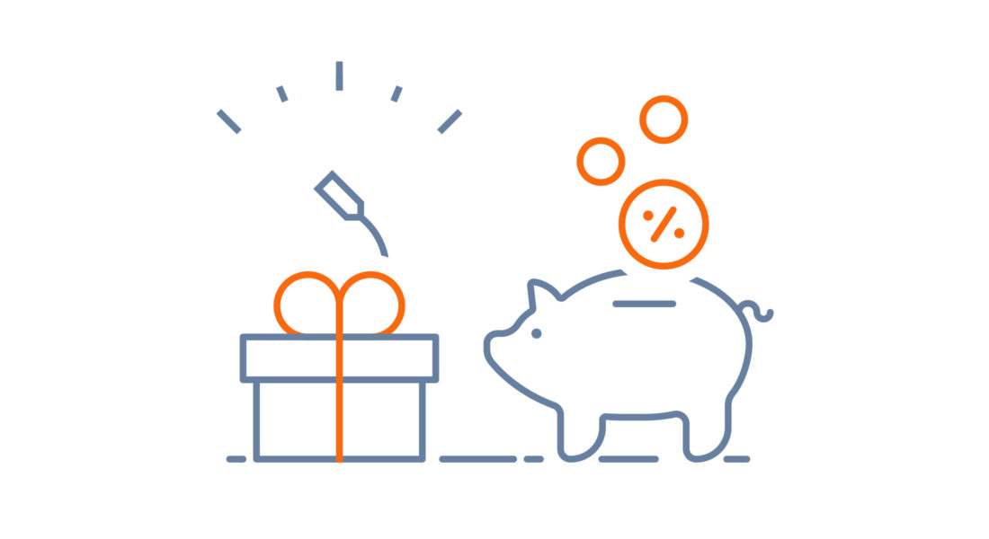 Graphic of piggy bank and gift box