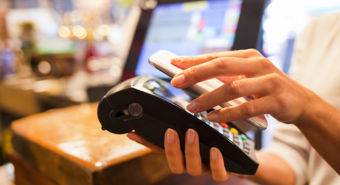 Smartphone, paying with a digital wallet
